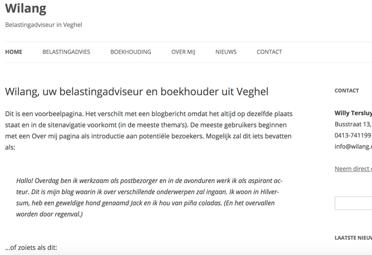 Ik heb de website van accountant Wilang uit Veghel gebouwd in WordPress
