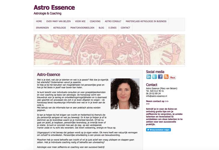 Ik heb de website van astroloog Astro Essence uit Amsterdam gebouwd in WordPress