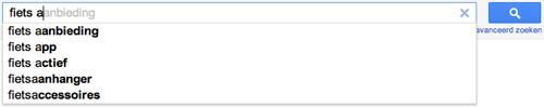 """Google's suggesties voor """"fiets a"""""""