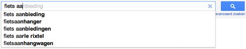 """Google's suggesties voor """"fiets aa"""""""