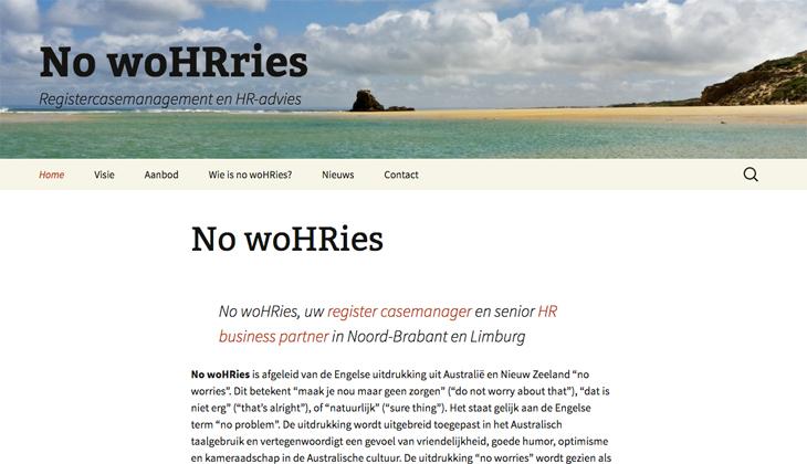Ik heb de website van No WoHRies uit Eindhoven gebouwd in WordPress