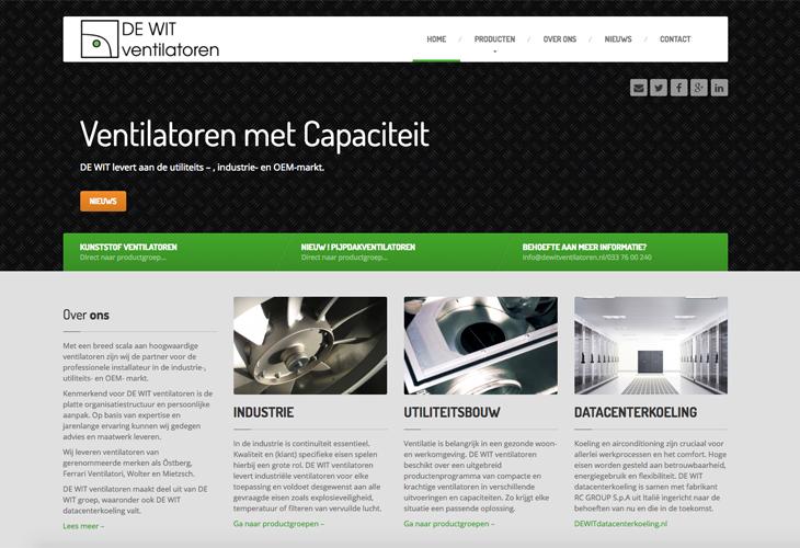 Ik heb de website van fabriek De Wit Ventilatoren uit Amersfoort gebouwd in WordPress