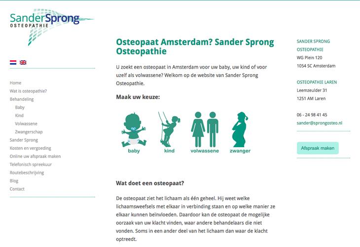Ik heb de website van Sprong Osteopathie uit Amsterdam gebouwd in WordPress